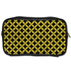 Circles3 Black Marble & Yellow Leather (r) Toiletries Bags 2 Side