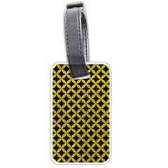 Circles3 Black Marble & Yellow Leather (r) Luggage Tags (one Side)