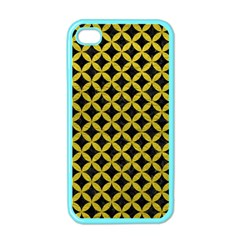 Circles3 Black Marble & Yellow Leather (r) Apple Iphone 4 Case (color)