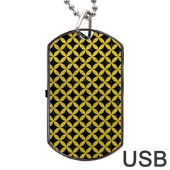 Circles3 Black Marble & Yellow Leather (r) Dog Tag Usb Flash (two Sides)