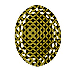 Circles3 Black Marble & Yellow Leather (r) Ornament (oval Filigree)
