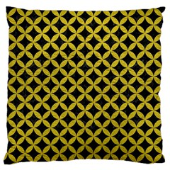Circles3 Black Marble & Yellow Leather (r) Large Cushion Case (one Side)