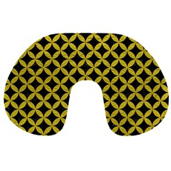 Circles3 Black Marble & Yellow Leather (r) Travel Neck Pillows