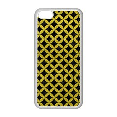Circles3 Black Marble & Yellow Leather (r) Apple Iphone 5c Seamless Case (white)