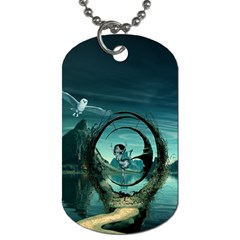 Cute Fairy Dancing On The Moon Dog Tag (two Sides)