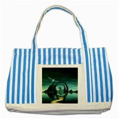 Cute Fairy Dancing On The Moon Striped Blue Tote Bag