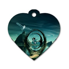 Cute Fairy Dancing On The Moon Dog Tag Heart (one Side)