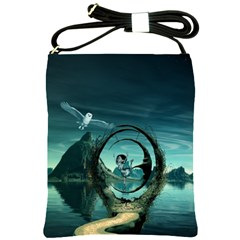 Cute Fairy Dancing On The Moon Shoulder Sling Bags