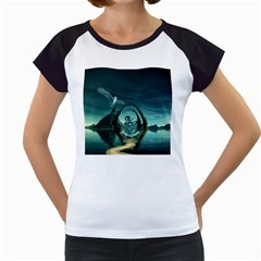 Cute Fairy Dancing On The Moon Women s Cap Sleeve T