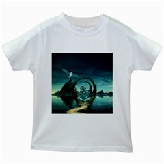 Cute Fairy Dancing On The Moon Kids White T Shirts