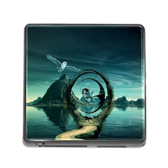 Cute Fairy Dancing On The Moon Memory Card Reader (square)
