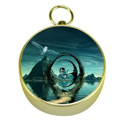Cute Fairy Dancing On The Moon Gold Compasses