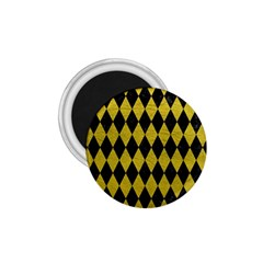 Diamond1 Black Marble & Yellow Leather 1 75  Magnets