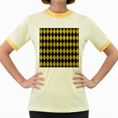 Diamond1 Black Marble & Yellow Leather Women s Fitted Ringer T Shirts