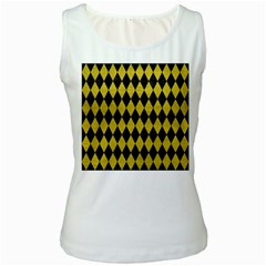 Diamond1 Black Marble & Yellow Leather Women s White Tank Top