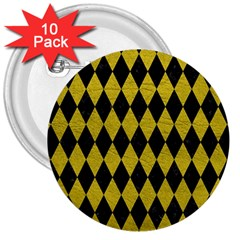 Diamond1 Black Marble & Yellow Leather 3  Buttons (10 Pack)
