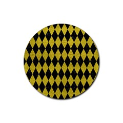 Diamond1 Black Marble & Yellow Leather Rubber Round Coaster (4 Pack)