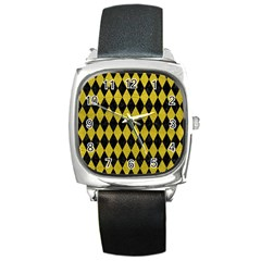 Diamond1 Black Marble & Yellow Leather Square Metal Watch