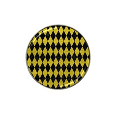 Diamond1 Black Marble & Yellow Leather Hat Clip Ball Marker (4 Pack)