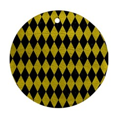 Diamond1 Black Marble & Yellow Leather Round Ornament (two Sides)