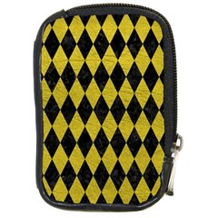 Diamond1 Black Marble & Yellow Leather Compact Camera Cases