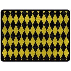 Diamond1 Black Marble & Yellow Leather Fleece Blanket (large)
