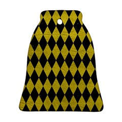 Diamond1 Black Marble & Yellow Leather Ornament (bell)