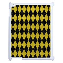 Diamond1 Black Marble & Yellow Leather Apple Ipad 2 Case (white)