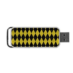 Diamond1 Black Marble & Yellow Leather Portable Usb Flash (one Side)