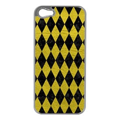 Diamond1 Black Marble & Yellow Leather Apple Iphone 5 Case (silver)