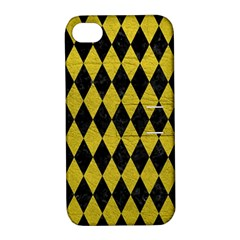Diamond1 Black Marble & Yellow Leather Apple Iphone 4/4s Hardshell Case With Stand