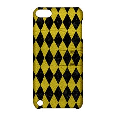 Diamond1 Black Marble & Yellow Leather Apple Ipod Touch 5 Hardshell Case With Stand