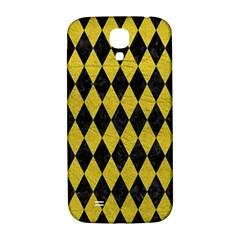 Diamond1 Black Marble & Yellow Leather Samsung Galaxy S4 I9500/i9505  Hardshell Back Case