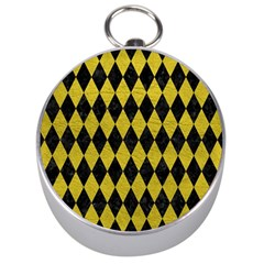 Diamond1 Black Marble & Yellow Leather Silver Compasses