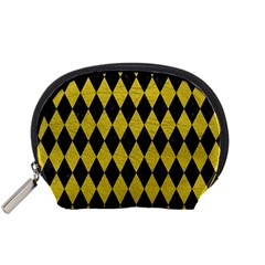 Diamond1 Black Marble & Yellow Leather Accessory Pouches (small)