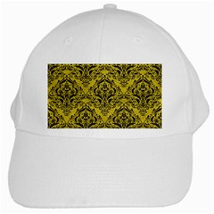 Damask1 Black Marble & Yellow Leather White Cap