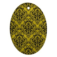 Damask1 Black Marble & Yellow Leather Ornament (oval)