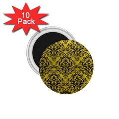 Damask1 Black Marble & Yellow Leather 1 75  Magnets (10 Pack)