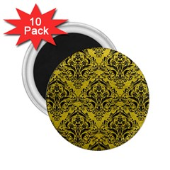 Damask1 Black Marble & Yellow Leather 2 25  Magnets (10 Pack)