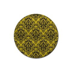Damask1 Black Marble & Yellow Leather Rubber Coaster (round)