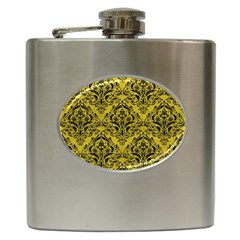 Damask1 Black Marble & Yellow Leather Hip Flask (6 Oz)