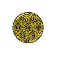 Damask1 Black Marble & Yellow Leather Hat Clip Ball Marker (4 Pack)