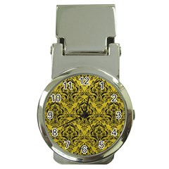 Damask1 Black Marble & Yellow Leather Money Clip Watches
