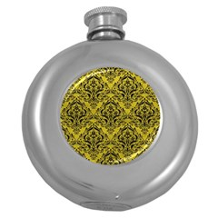 Damask1 Black Marble & Yellow Leather Round Hip Flask (5 Oz)
