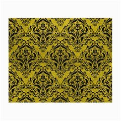 Damask1 Black Marble & Yellow Leather Small Glasses Cloth (2 Side)