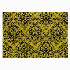Damask1 Black Marble & Yellow Leather Large Glasses Cloth