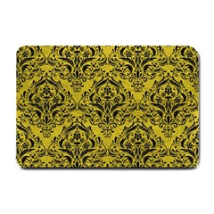 Damask1 Black Marble & Yellow Leather Small Doormat