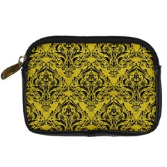 Damask1 Black Marble & Yellow Leather Digital Camera Cases