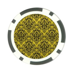 Damask1 Black Marble & Yellow Leather Poker Chip Card Guard (10 Pack)