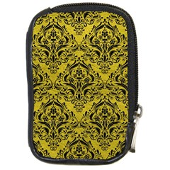 Damask1 Black Marble & Yellow Leather Compact Camera Cases